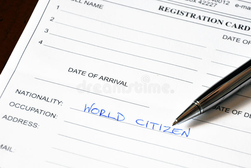 Hotel Registration Card royalty free stock photography