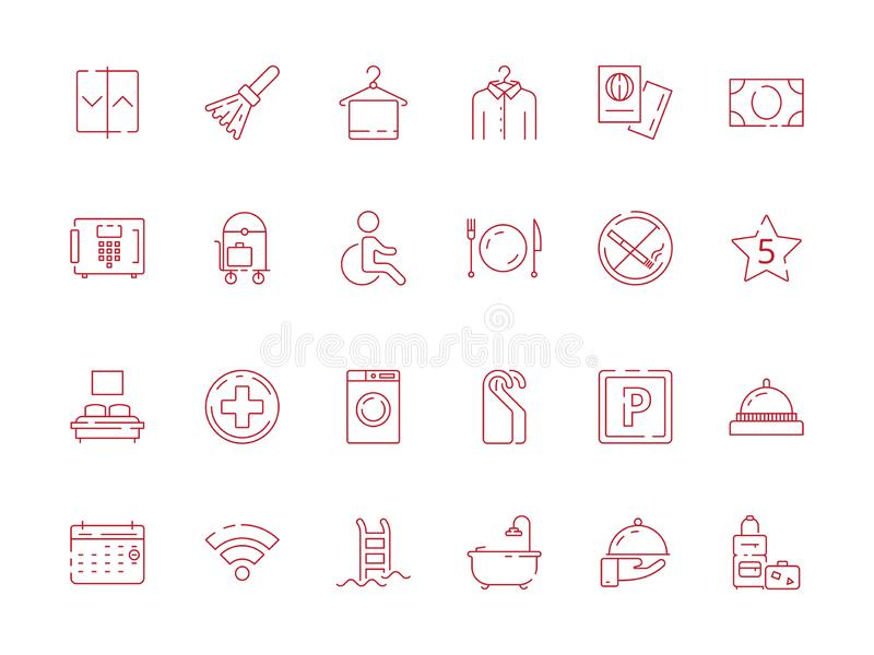 Hotel related signs. Fireplace travel icon breakfast area toilet wifi parking child place wardrobe vector hotel symbols stock illustration