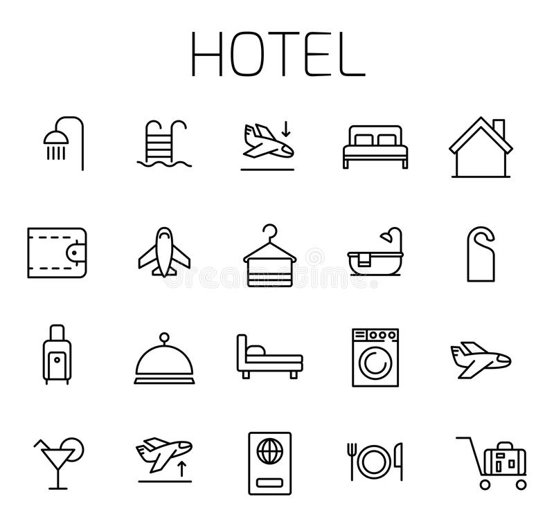 Hotel related vector icon set stock illustration