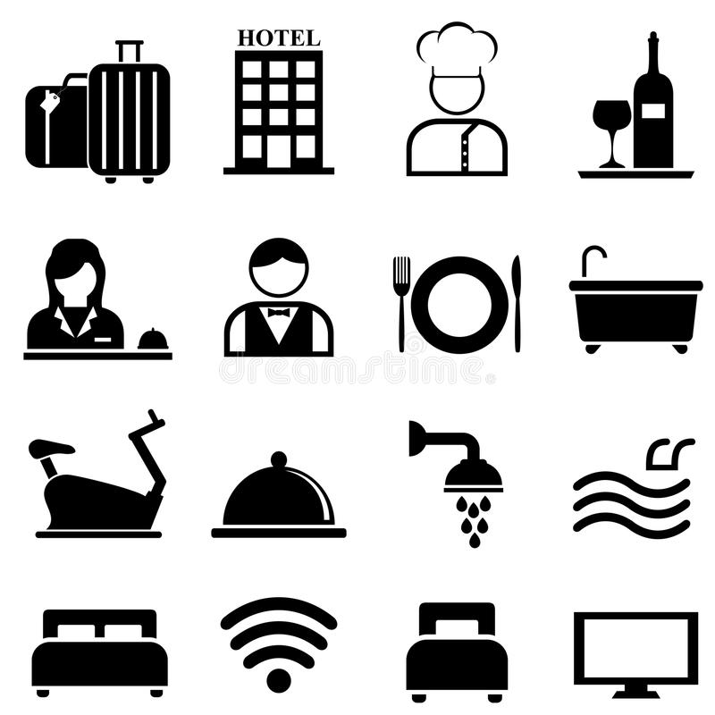 Hotel, resort and hospitality icon set stock illustration