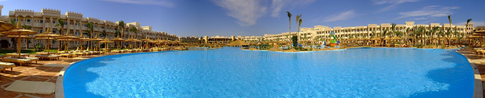 Download Hotel resort panorama stock image. Image of blue, loungers - 6965769