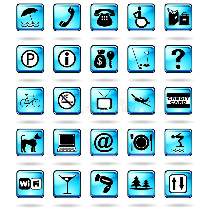 Download Hotel Resort Symbols Icons Blue Stock Vector - Image: 22799882
