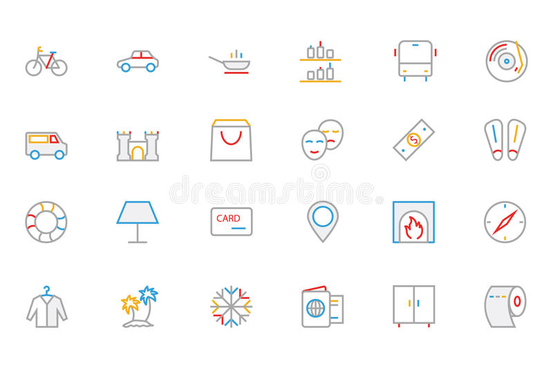 Hotel and Restaurant Colored Outline Vector Icons 5. These Hotel colored line icons are perfect for any designer or developer that is working on a new restaurant royalty free illustration