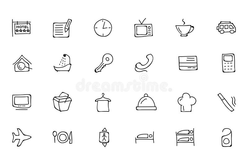 Hotel and Restaurant Doodle Icons 1 stock illustration