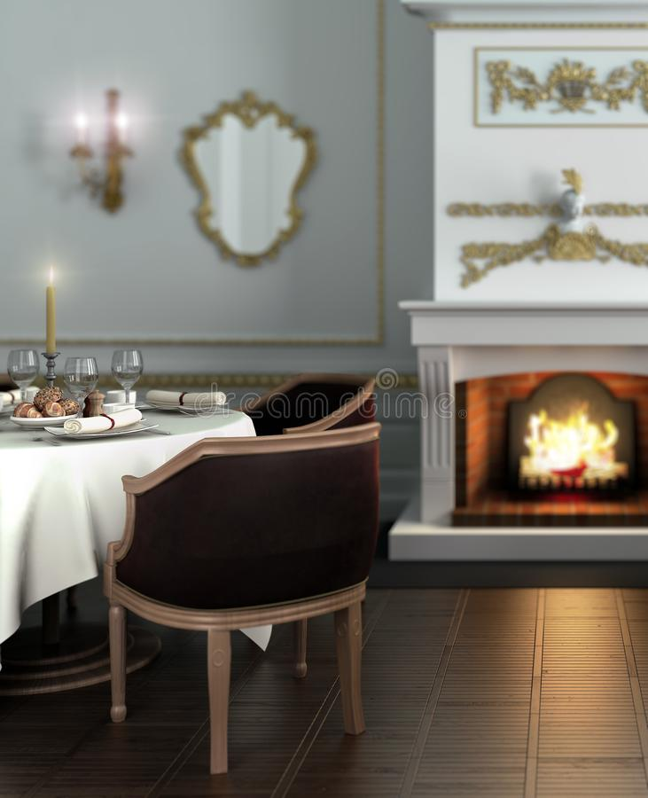 Hotel-Restaurant III Fokus. Hotel-Restaurant Table in Focus - 3d visualization royalty free illustration