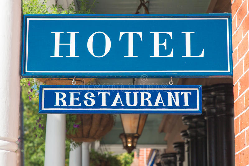 Hotel and restaurant sign royalty free stock image