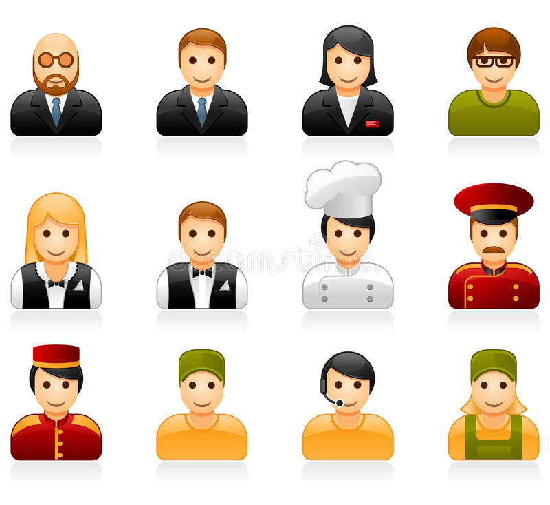 Hotel and restaurant staff icons stock illustration