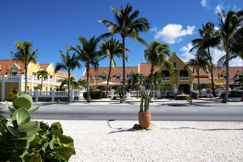 Hotel and Restaurants, Aruba, Caribbean Sea royalty free stock images