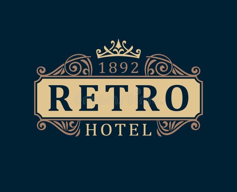 Hotel retro Linhas caligráficas do ornamento do molde luxuoso do logotipo ilustração do vetor