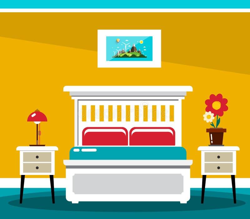 Hotel Room Bed. Vector Flat Design Interior royalty free illustration