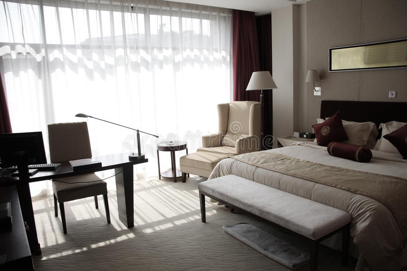 Hotel room or bedroom royalty free stock photos