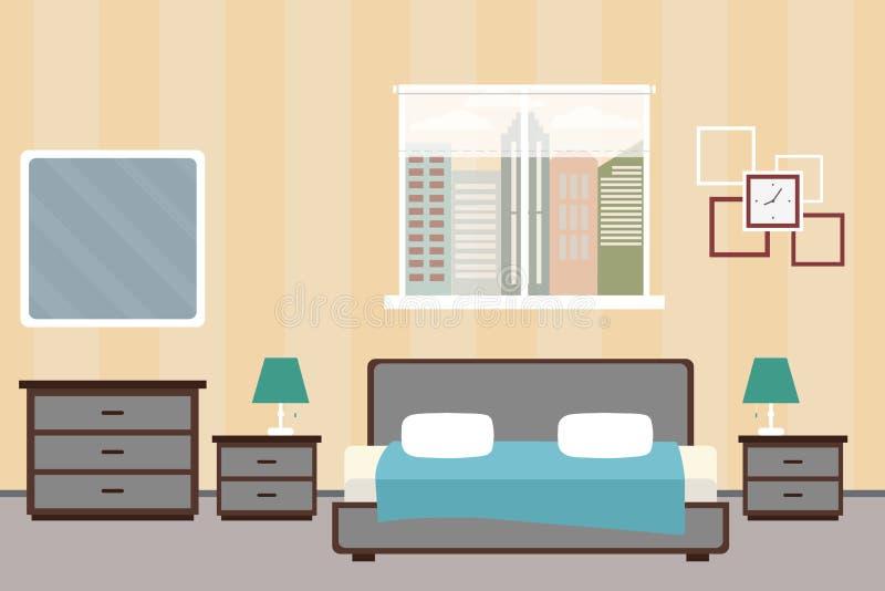 Hotel room or Bedroom Interior flat design.Home furniture vector illustration
