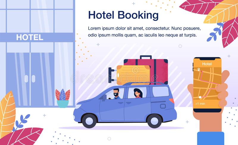 Hotel Room Booking Online Service Vector Poster royalty-vrije illustratie