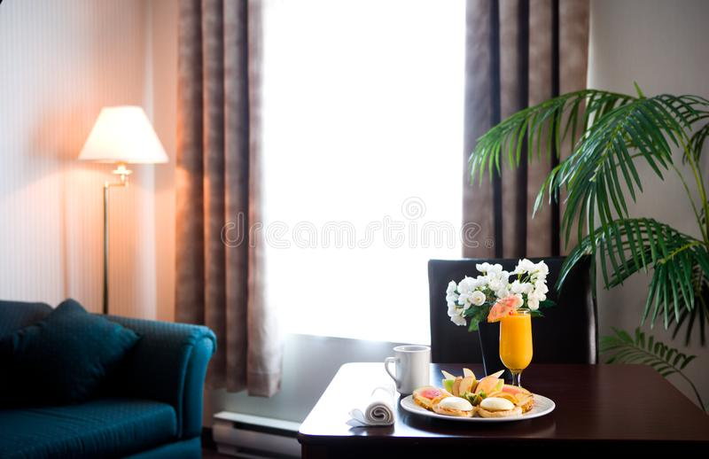 Hotel room breakfast stock photos