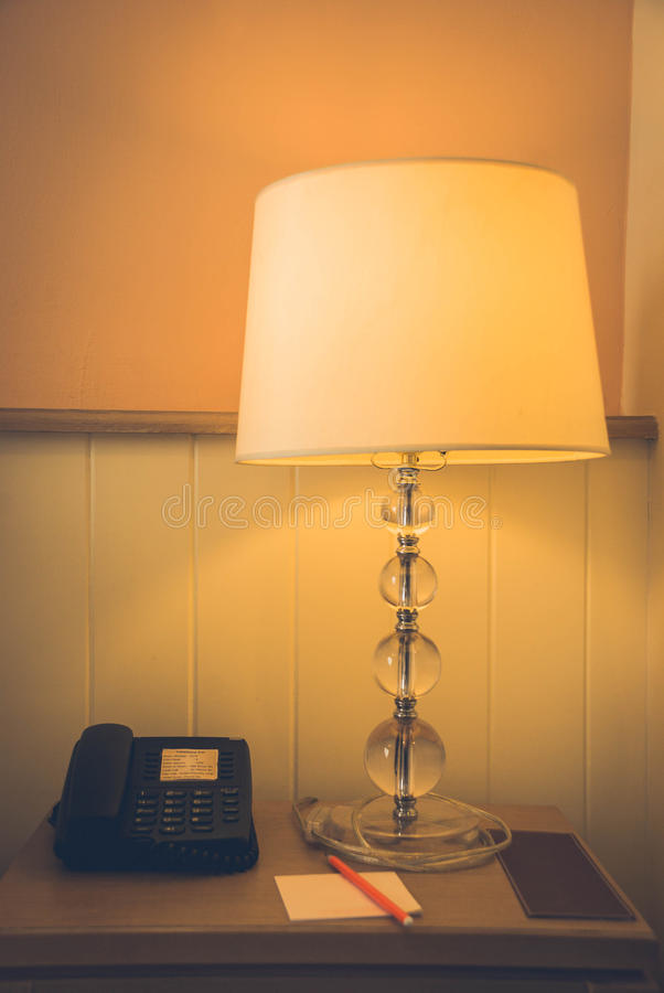 Hotel Room. Business Hotel room interior. phone lampe royalty free stock photo