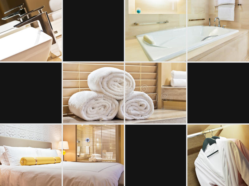 Hotel room collage. Collage of modern hotel room and bathroom images stock photo