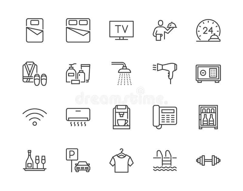 Hotel room facilities flat line icons set. Double bed, reception, room service, bathrobe, slippers, safe, minibar vector vector illustration