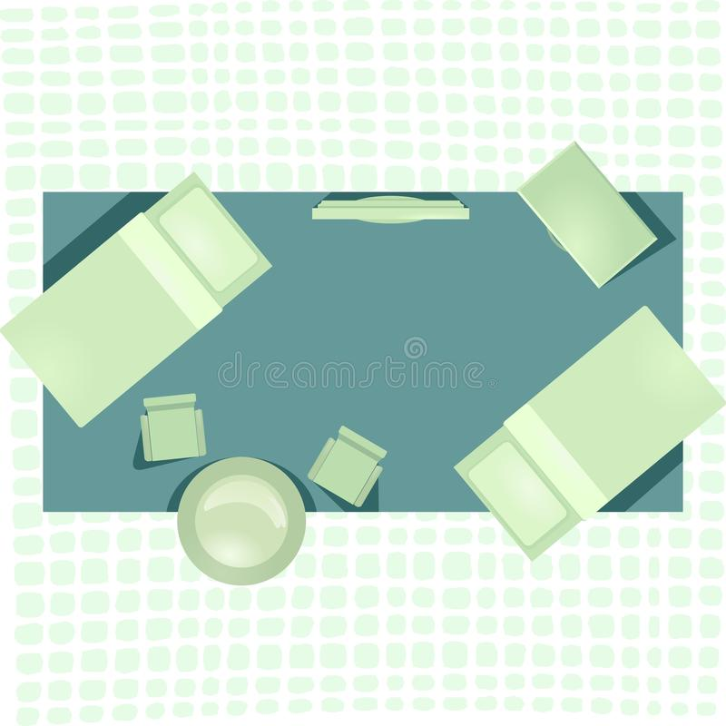 Hotel room flat interior in green color stock illustration