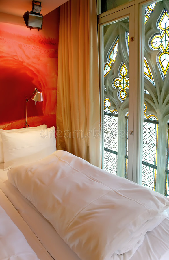 Hotel Room Photography: Hotel Room With Gothic Window Stock Photo