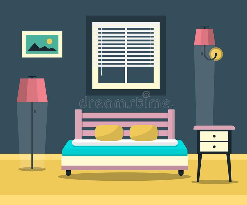 Hotel Room - Interior with Bed, Furniture and Window. Flat Design Bedroom Illustration. Hotel Room - Interior with Bed, Furniture and Window. Flat Design Bedroom stock illustration
