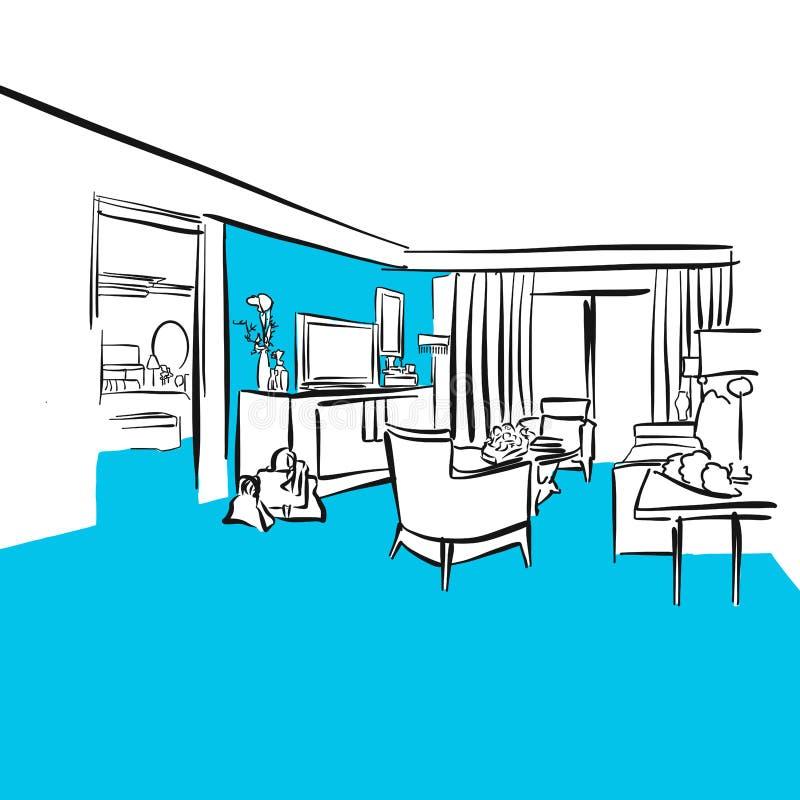 Hotel room Luxury apartment, Blue Series. Hand-drawn Vector Artwork stock illustration