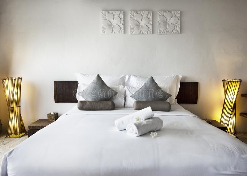 Hotel room at a luxury resort stock images