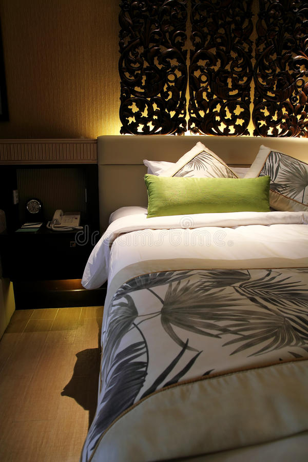 Hotel Room At Night Stock Photo Image Of Bedding Headboard