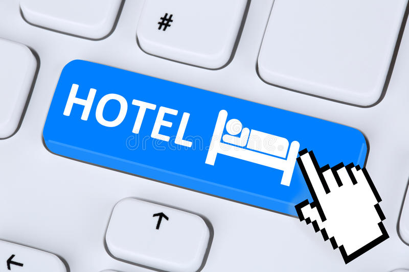 Hotel room online internet booking computer royalty free stock images