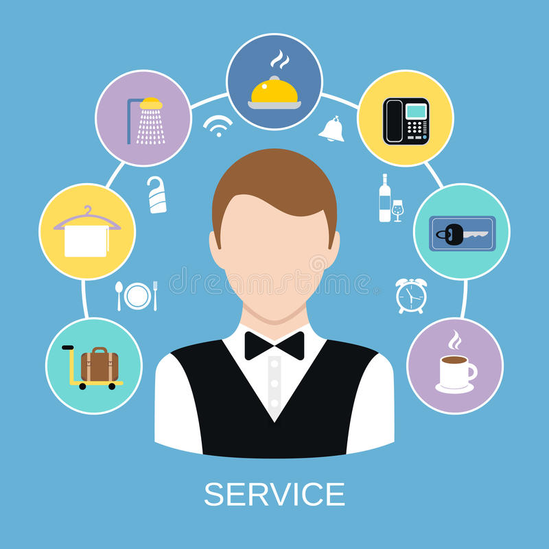 Hotel room service. Bell boy with hotel accommodation room service icons set vector illustration stock illustration