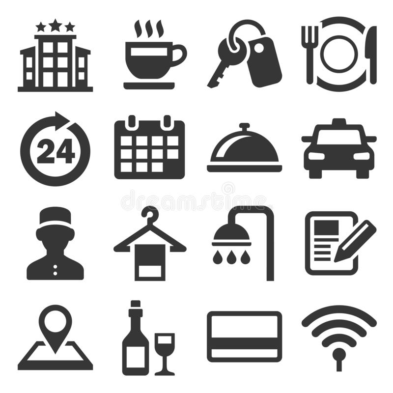 Hotel Room Service Related Icon Set. Vector royalty free illustration
