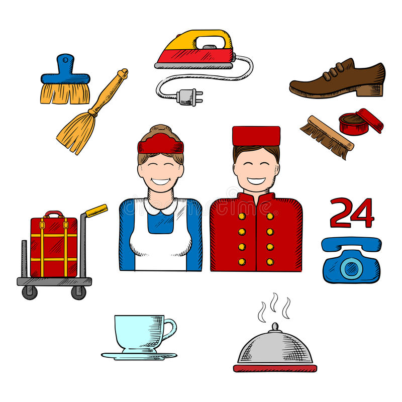 Hotel Housekeeping Services: Hotel And Room Service Sketch Icons Stock Vector