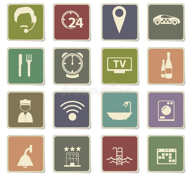 Hotel room services icon set. Hotel room services icons for user interface design royalty free stock images