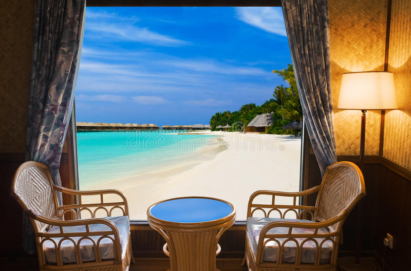 Hotel room and tropical landscape royalty free stock images