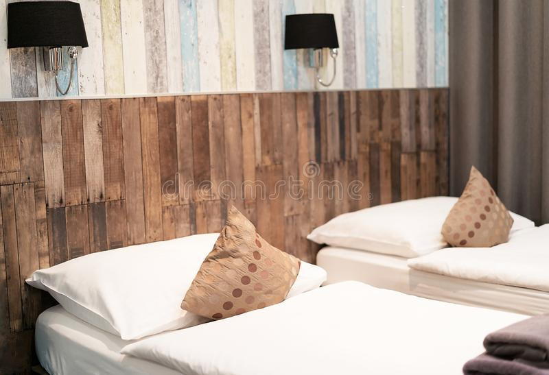 Hotel room with two beds at night. royalty free stock image