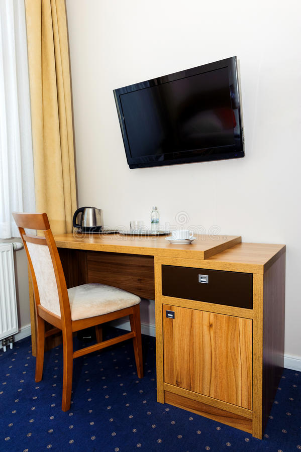 Hotel Room Desk: Writing Desk In Hotel Room Stock Image. Image Of Lamp