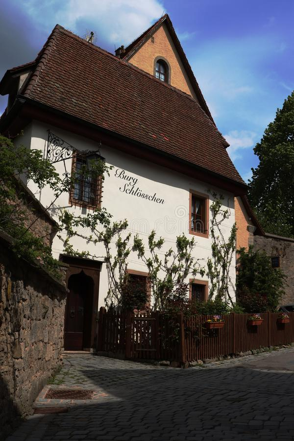 Hotel in Rothenburg-ob der Tauber lizenzfreies stockbild