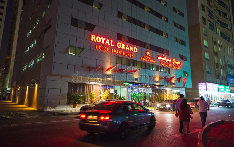 Hotel Royal Grand Hotel Apartments. SHARJAH, UAE - NOVEMBER 4: Royal Grand Suite Hotel. Hotel has 136 guestrooms. Guests can use the in-room complimentary stock photography