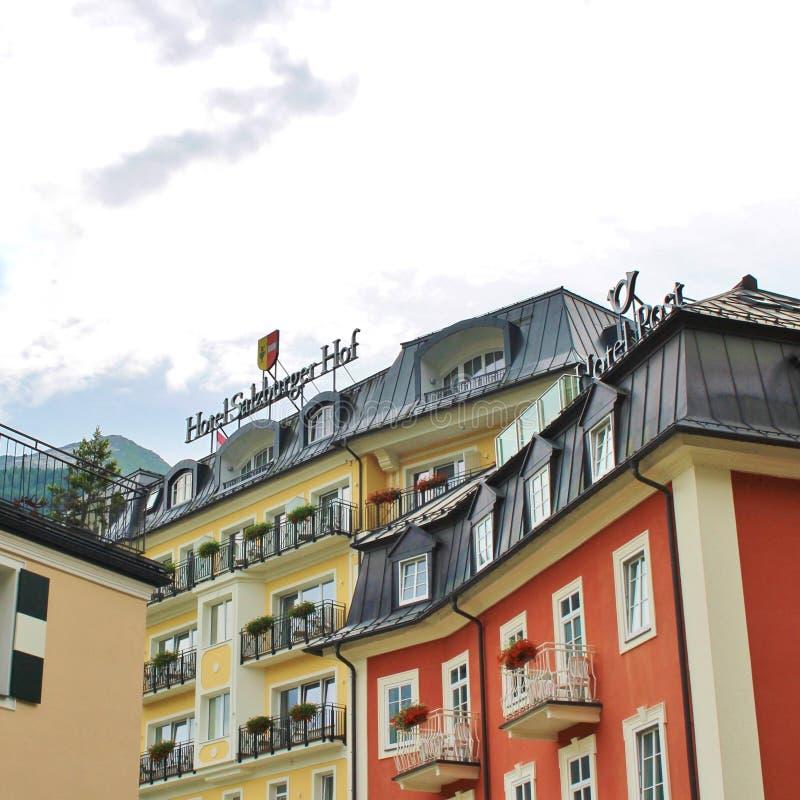 Hotel Salzburger Hof em Gastein mau, Áustria fotografia de stock royalty free