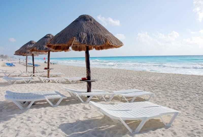 Hotel on sandy beach. Sandy beach in Cancun, Mexico stock photos