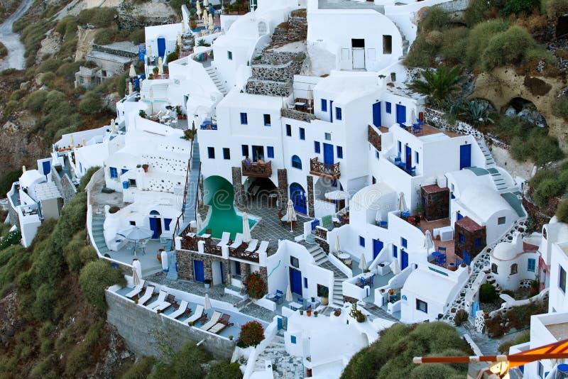 The hotel on Santorini royalty free stock photography
