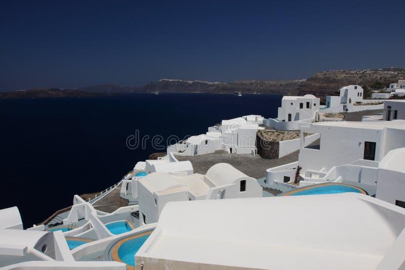 Hotel in Santorini lizenzfreies stockfoto