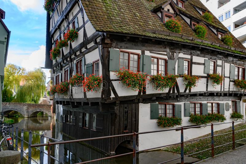 Hotel Schiefes Haus - leaning hotel, Romantic Street, Baden-Wuerttemberg, Germany. Half-timber house in historic district of Ulm. stock photo