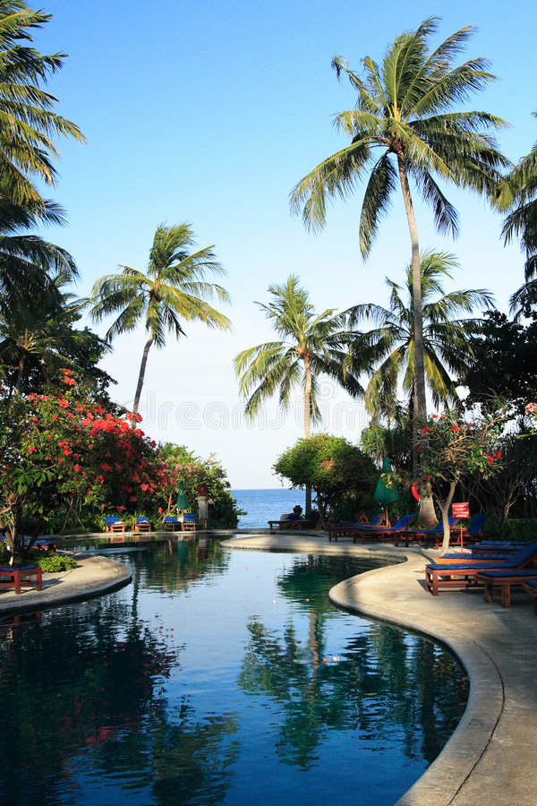 Hotel on Sengigi beach royalty free stock photography