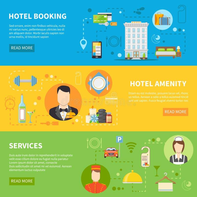 Hotel Service Banners Set vector illustration