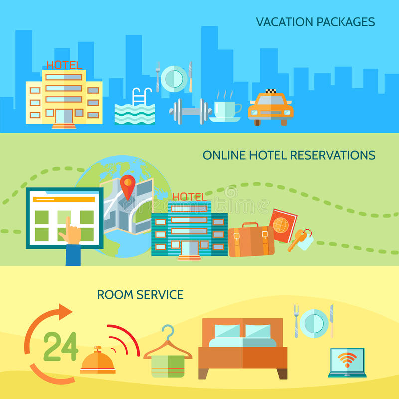Hotel service banners set royalty free illustration