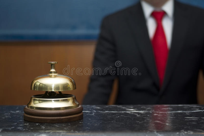 Hotel service bell. Service bell in a hotel stock photo