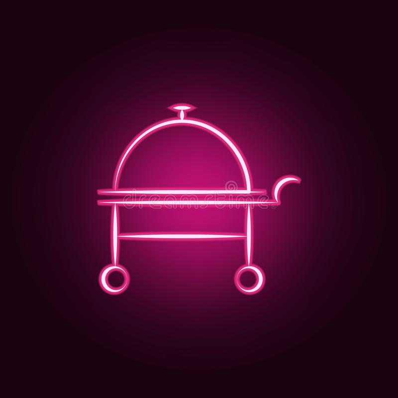 hotel service cloche neon icon. Elements of travel set. Simple icon for websites, web design, mobile app, info graphics royalty free illustration