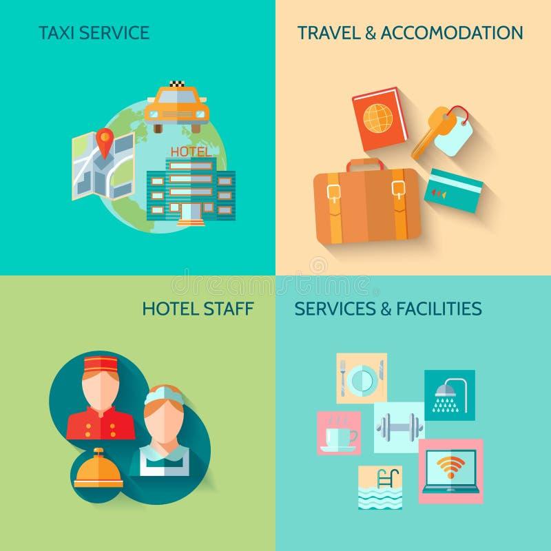 Hotel service composition set vector illustration