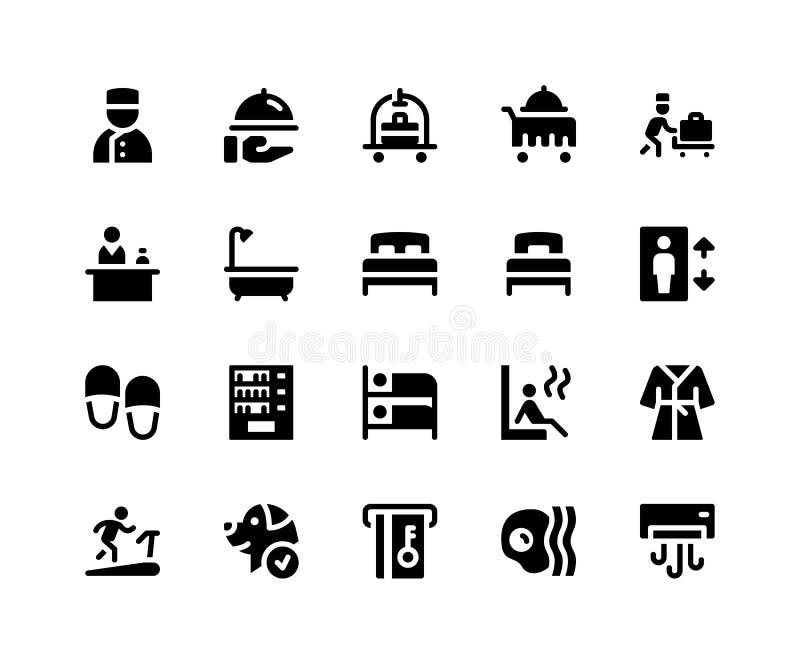 Hotel Service Glyphe Symbole stockfoto