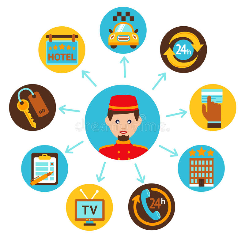 Hotel service icons composition print royalty free illustration
